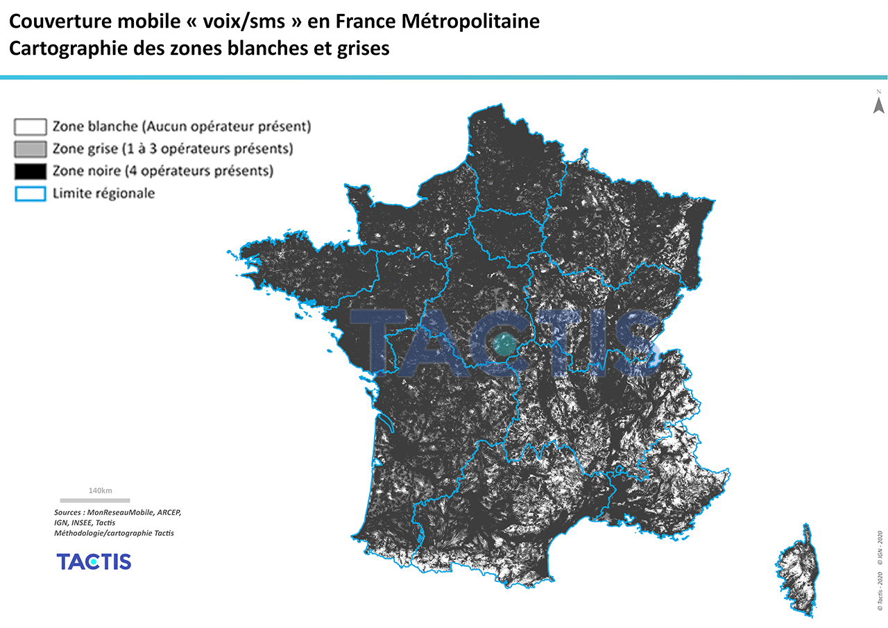 Tactis - Couverture-mobile - Zones blanches et grises - France